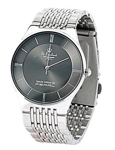 St. Leonhard Herrenarmbanduhr: Herren-Armbanduhr aus Edelstahl, spritzwassergeschützt (3 ATM) (Herrenuhr)