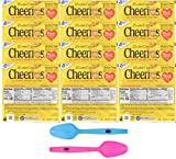 Cheerios Toasted Whole Grain Gluten-Free Cereal, 1.0 oz Single Serve Bowls (Pack of 12) with 2 By The Cup Mood Spoons