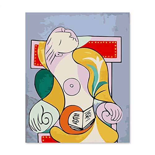 Pmhc Geframed schilderen op cijfers kunst schilderen op cijfers digitaal olieverfschilderij Picasso Las Een vrouw, die in een stoel-sap