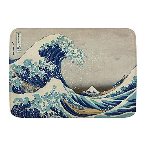 N\A Alfombra de baño, la Gran Ola, Pintura Japonesa de Hokusai bajo una Ola de Kanagawa, Alfombrillas de Felpa para decoración de baño con Respaldo Antideslizante