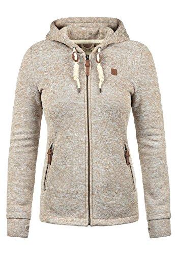 DESIRES Thory Damen Fleecejacke Sweatjacke Jacke Mit Kapuze Und Daumenlöcher, Größe:XL, Farbe:Dune (5409)