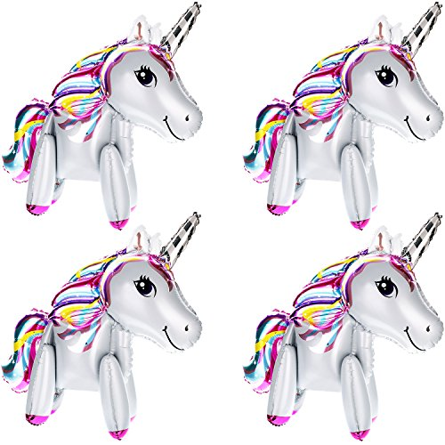 Gejoy 4 Pack 3D Unicorn Balloons Walking Animal Balloons Aluminum Foil Balloons for Birthday Party Baby Shower Decoration Supplies (White)