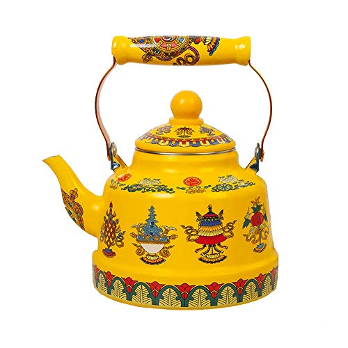 Gas Tea Kettle 2.5L Stovetop Porcelain Enameled Teakettle For Gas Stove, Induction Cooker - Small Retro Classic Design Color Yellow (Size : 2.5L)