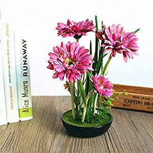 TuHiCaDo- 1 set artificial simulation chrysanthemum silk flower green plant bonsai with bl plastic artificial flowers dried artificial dried flowers foam leaf bl rose