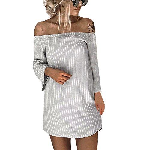 HUYURI Frauen Pullover Gestreiftes T-Shirt Kleid Schulterfrei Slash Neck Minikleid