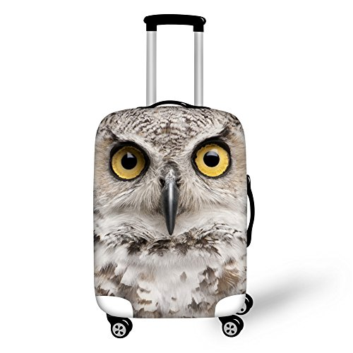 Coloranimal Women Travel Luggage Covers Fits 18-22 Inch Suitcase Cute 3D Owl Print