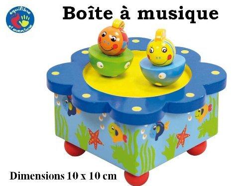 Boîte à musique en bois avec deux poissons qui tournent au rythme de la musique
