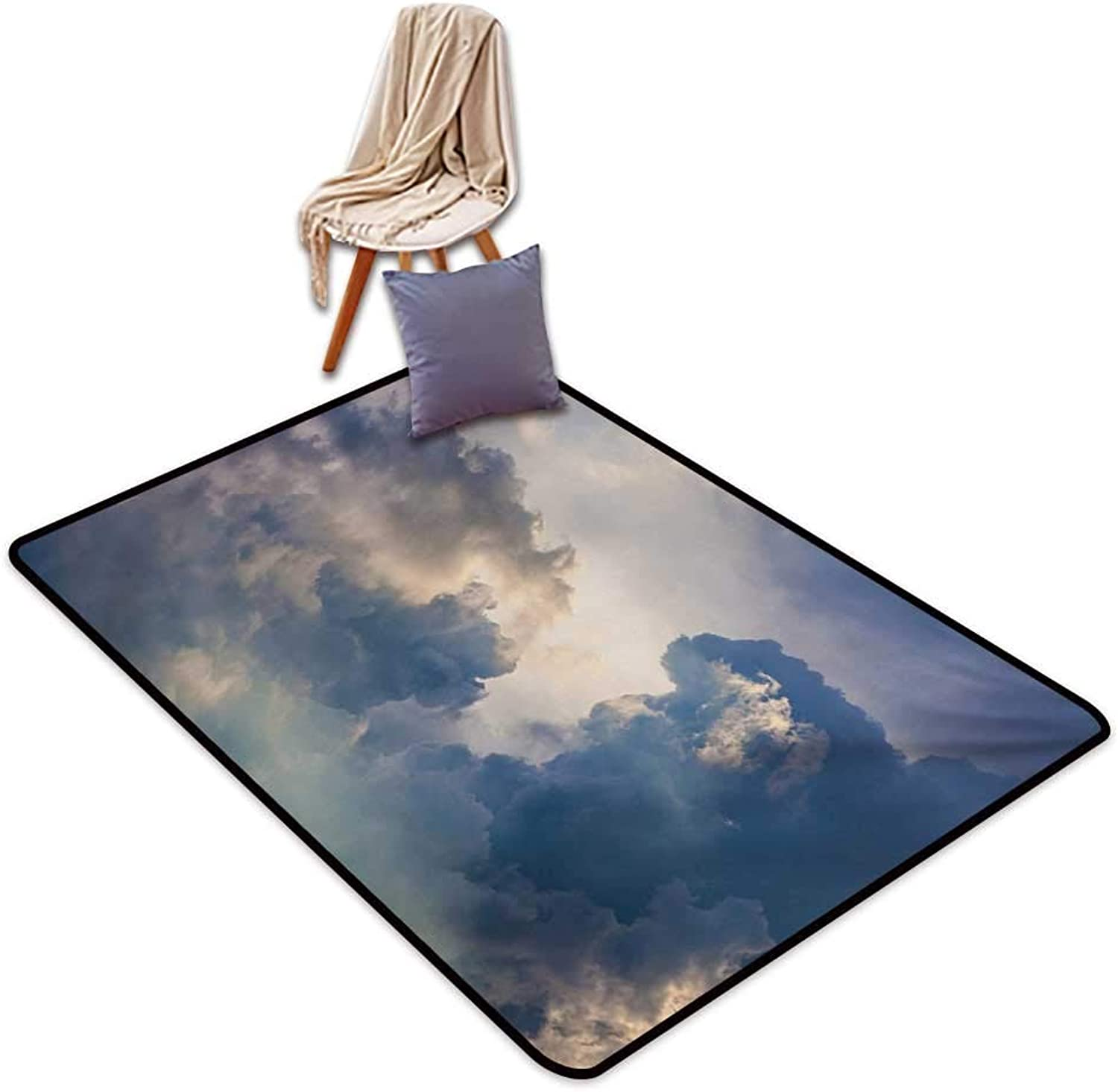 Clouds Latex Backing Non Slip Door Mat Majestic Rain Storm Clouds Over The Sky High Above The Ground Environment Scenery Water Absorption, Anti-Skid and Oil Proof 48  Wx59 L bluee White