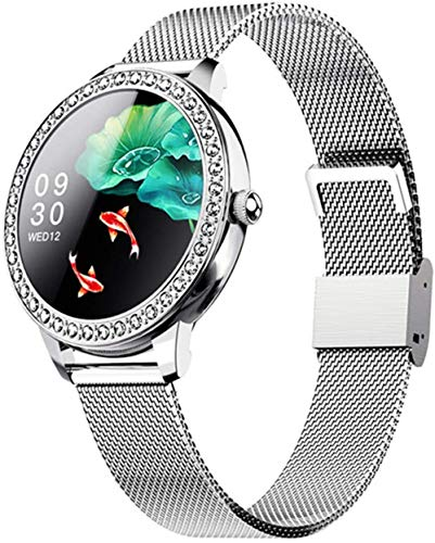 2021 Moda Smart Watch Mujeres Encantadora Pulsera Fitness Tracker Reloj Impermeable para Niña VS Smart Wach PK Band-Plata