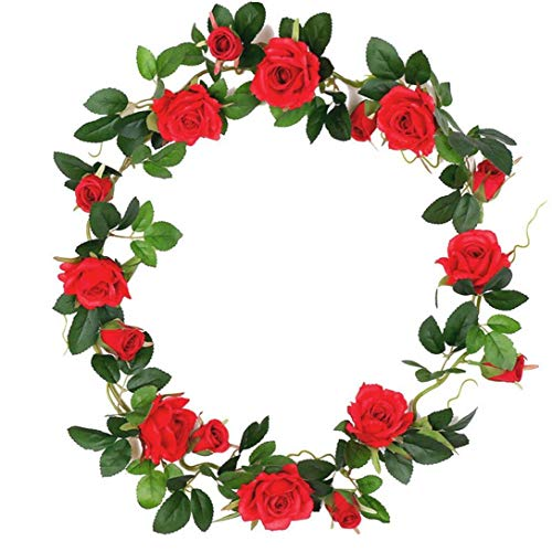 Kacniohen Artificial Silk Rose Flower Vine Garland Hanging Plants Baskets for Wedding Party Home Wall Decor Premium Material
