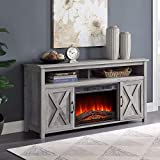 BELLEZE 58' Corin Barn Door Wood Fireplace Stand with Remote Control for TV's Up to 65' Living Room Storage - Gray Wash
