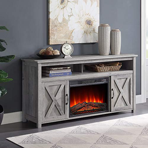 BELLEZE 58' Corin Barn Door Wood Fireplace Stand with Remote Control for TV's Up to 65' Living Room...