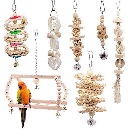 Ertisa 7er Vogelspielzeug für Vögel, Papageien, Schaukel, Kauspielzeug aus Naturholz, zum Aufhängen, für kleine Sittiche, Nymphensittiche, Sittiche Finken