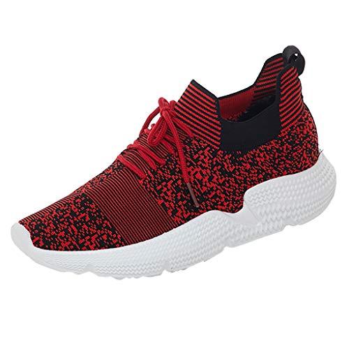 HDUFGJ Damen Sneaker Tuch Atmungsaktiv Laufschuhe Freizeitschuhe Outdoor-Schuhe Bequem Mode Leichtgewicht Faule Schuhe Turnschuhe Fitnessschuhe Flache Schuhe Clogs39.5 EU(rot)
