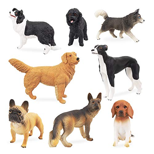 TOYMANY 8PCS Dog Figurines Toy Set, Realistic Detailed Plastic Dog Figures Animals Toy Playset with Husky Retriever Bulldog, Cake Toppers School Project Christmas Birthday Gift for Kids Toddlers