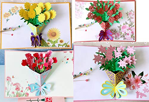 VSILE VSILE 3D Pop Set of 4 Greeting Card Flower