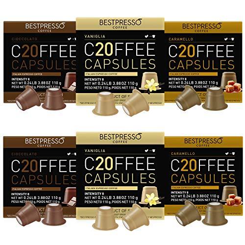 Bestpresso Coffee for Nespresso Original Machine 120 pods Certified Genuine Espresso Variety Pack Caramel,Vanilla and Chocolate, Pods Compatible with Nespresso Original