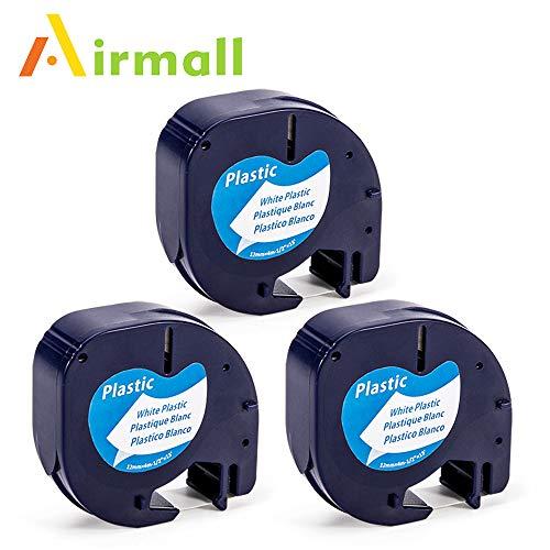 Airmall kompatible Etikettenband als Ersatz für Dymo LetraTag Kunststoff Schriftband 12mm x 4m (91201/ S0721660, schwarz auf weiß) für LT-100H LT-100T LT-110T QX 50 XR XM 2000 Plus, 3-Rollen