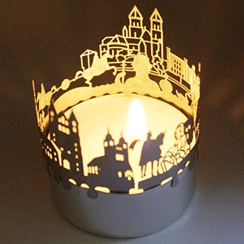 13gramm Magdeburg-Skyline Windlicht Schattenspiel Souvenir, 3D Edelstahl Aufsatz für Kerze inkl. Karte