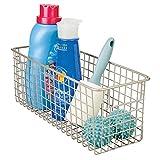 mDesign Cesta metálica para su lavadero - Cesta organizadora en color satinado de metal resistente con asas - Organice todos sus productos de limpieza
