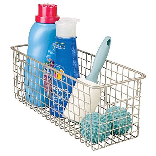 mDesign opbergrek voor wasmiddelen - Praktische metalen plankmand - kastmand voor de wasruimte Satijn