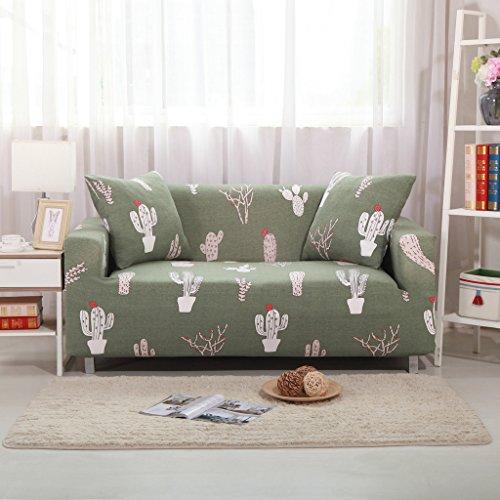 HYSENM 1/2/3/4 Sitzer Sofabezug Sofaüberwurf Sesselhussen elastisch farbecht hautfreundlich, Kaktus 2 Sitzer 145-185cm