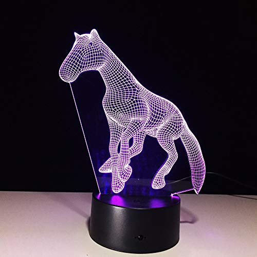 USB Novelty Touch Charming Horse Lamp 3D Dimmable Night Light as Creative Festival Gifts Home Decor Desk Lamp for Friend
