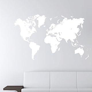 "World Map Earth Wall Decal Sticker Atlas Globe Art #1248 (28"" High x 49"" Wide, Matte White)"