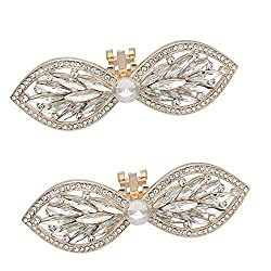 Bow(Rose Gold) Rhinestone Butterfly Shoe Clips