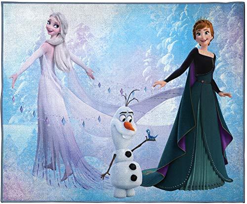 Jay Franco Disney Frozen - Alfombra para habitación de nieve y hielo, tamaño grande, 4 x 5 pies, características Elsa, Anna y Olaf (producto oficial de Disney) 🔥