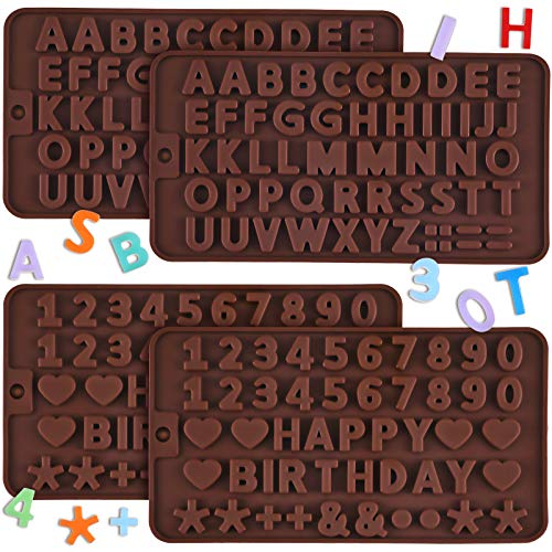 4 Pieces Letter Silicone Molds Happy Birthday Alphabet Silicone Cake Baking Mold Letter Number Chocolate Molds for Cake Candy Chocolate Decorating Tray (Chocolate)