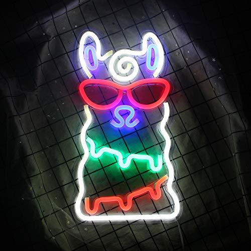 Alpaka Neonlicht LED Neonzeichen Weihnachten Wandleuchten für Schlafzimmer Dekoration Lounge Büro Hochzeit Bar Valentinstag Party Betrieben von USB (15,7 '' × 8,7 '') Alpaka Nachtlichter