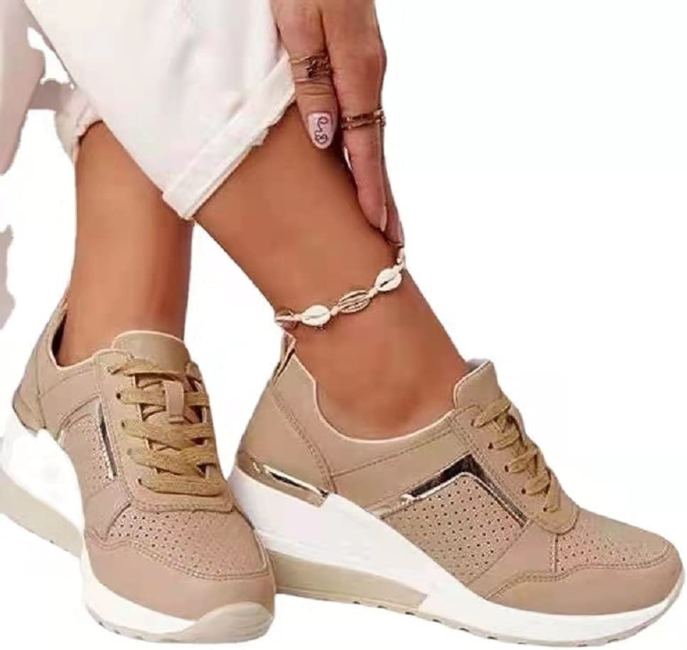 DAYEE Ladies Max 88% OFF Wedge Trainers Womens Classi Sneakers Lace Colorado Springs Mall Up Comfy