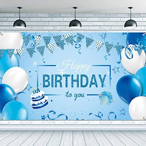 Happy Birthday Hintergrund Banner Extra Große Stoff Geburtstag Poster Fotografie Hintergrund Blau Happy Birthday to You Sign Banner für Geburtstag Party Dekoration, 72,8 x...