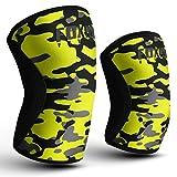 Foxter Fitness Kompressions-Kniebandage, Neopren, 5mm, mit Handgelenkbandage für Gewichtheben,...