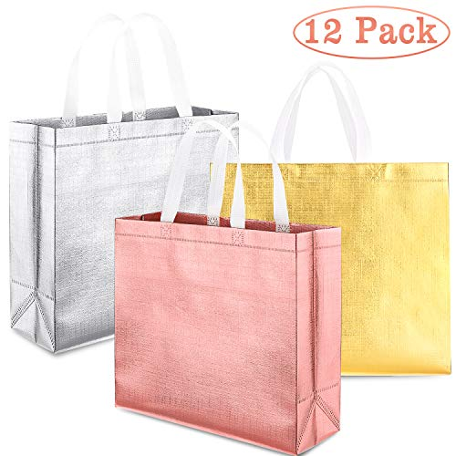Whaline Set of 12 Glossy Reusable Grocery Bag, Tote Bag with Handle, Non-woven Stylish Gift Bag, Goodies Bag, Shopping Promotional Bag, for Hoilday Party,Event,Birthday (Rose gold, Gold, Silver)