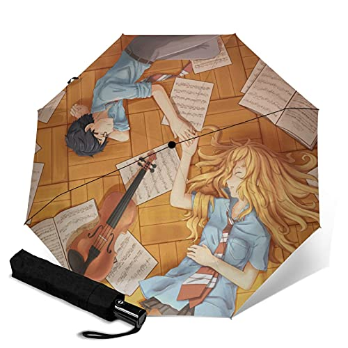 Your Lie in April Paraguas automático portátil de tres pliegues, cortavientos impermeable anti-UV, paraguas plegable y portátil