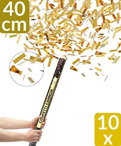 10 Konfetti Shooter Gold 40cm | Goldregen mit Extra lautem Knall | Konfettikanone mit Hoher Schussweite