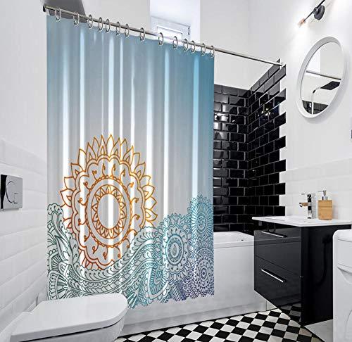 QAQA Zonsopgang Over De Zee Henna Doodle Stijl Bloemen Patronen Decoratieve Artwork Geel Blauw Douche Gordijn 1.8cm*2m Met haak