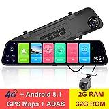 LFJNET 12 Inch Rearview Mirror 4G Android 8.1 Camera 2G RAM 32G ROM GPS Navigation Car Video Recorder ADAS WiFi Night Vision