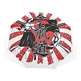 LASINSU Paraguas Resistente a la Intemperie,protección UV,Paraguas Ligero,Fondo Jeroglífico Samurai Cruzado Dos Ronin Aikido Estilo Lucha Oriental,Plegable