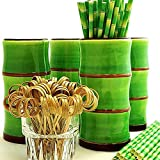 Tiki Mug Drinkware Set of 4 - Green Bamboo