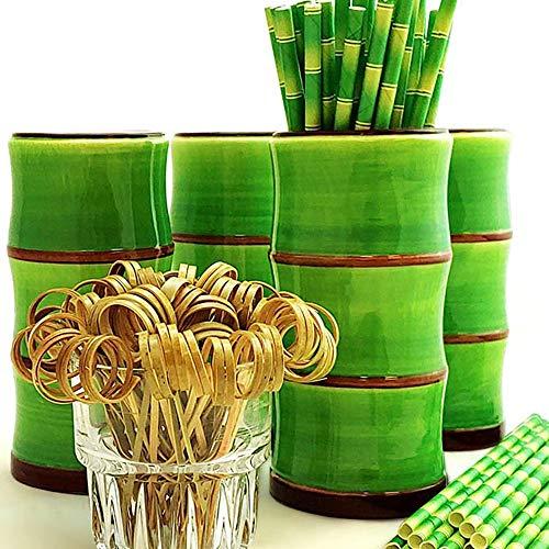 Tiki - Juego de 4 tazas (bambú), color verde