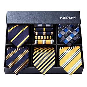 ビジネス用 ネクタイ 5本セット[ HISDERN(ヒスデン) ] おしゃれ ネクタイ チーフ メンズ 結婚式 黄色 ネクタイ ストライプ 就活青 ネクタイ ブランド プレゼント T5A014
