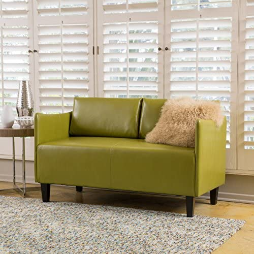 Best Christopher Knight Home Nile Green Bonded Leather Loveseat