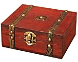 アンティーク 風 ボックス 小箱 収納 レトロ 小物入れ アンティーク 木箱 収納ボックス アクセサリー入れ 宝箱 elrin (茶)