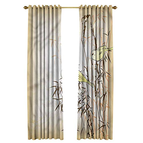Bamboo Print Design Curtain Privacy Protection Leaf and Birds on The Branch 52' W x 84' L
