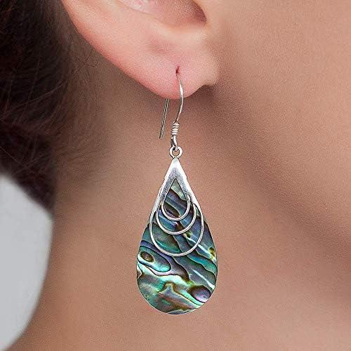 Boho Dangle Teardrop Abalone shell Earrings Unique Sterling Silver Large paua shell earrings product image