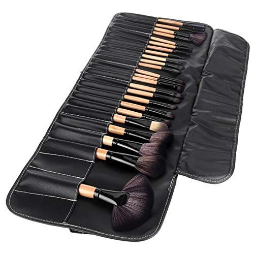 CattleBie 32 PCS Bois Couleur poignée Pinceau de Maquillage Set Beauty Kit + PU étui en Cuir (Color : Multi-Colored)