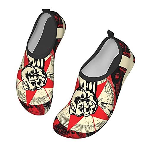 KangZiXunWJH Ra_Ge Aga_Inst The Ma_Chine - Zapatillas de deporte acuático de secado rápido para yoga para hombres y mujeres, color Negro, talla 36.5/38.5 EU